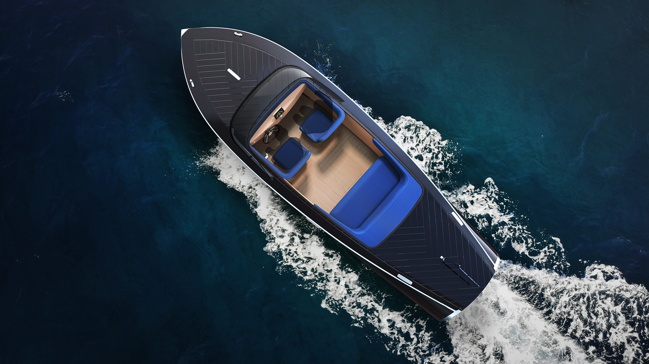 KeelCraft electric runabout top view on the water
